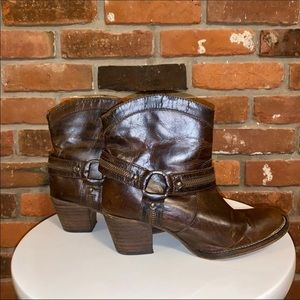 Dingo Brown Leather Harness Detailed Bootie 7